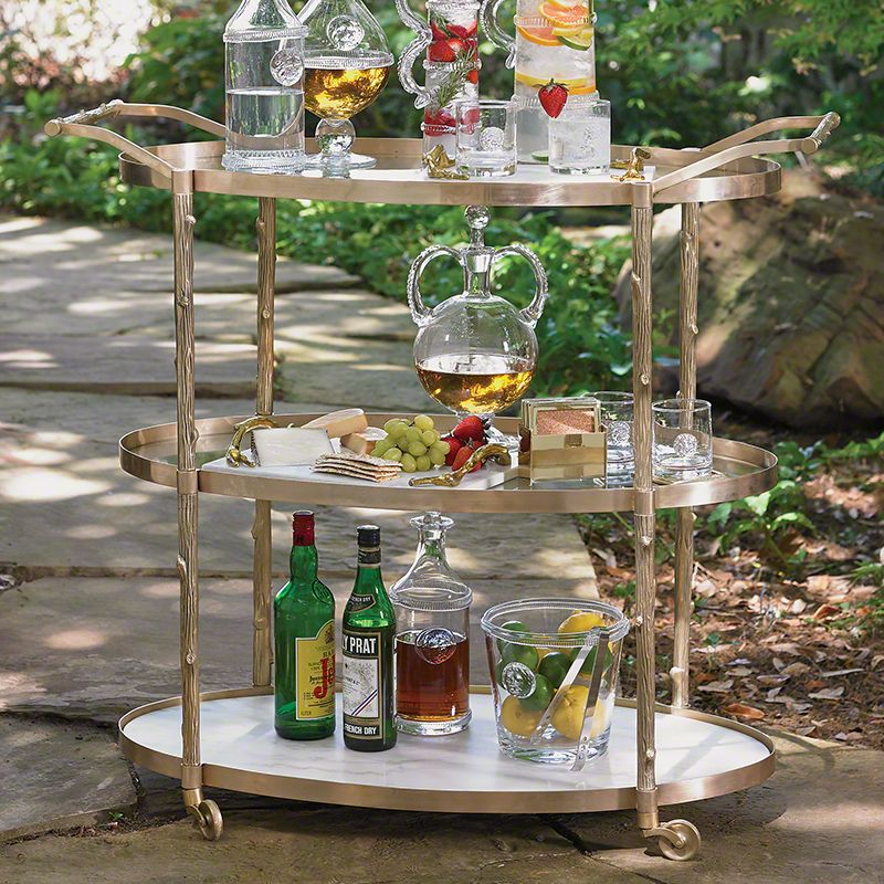 Global Views 8.82047 Arbor Storage Bar Cart Brass Furniture Bar Carts
