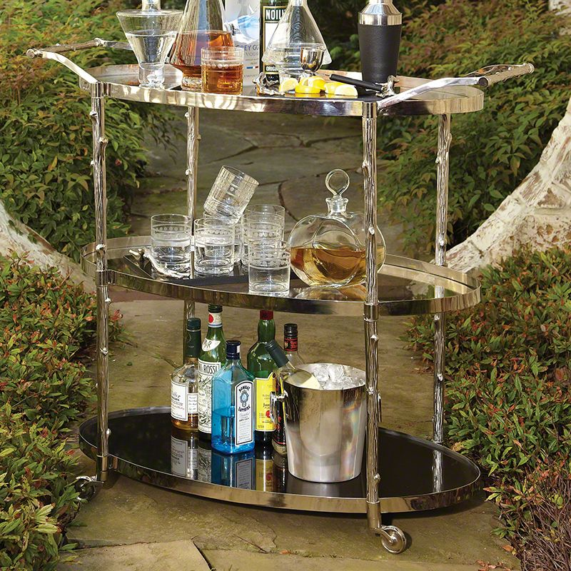 Global Views 8.82048 Arbor Storage Bar Cart Nickel Furniture Bar Carts