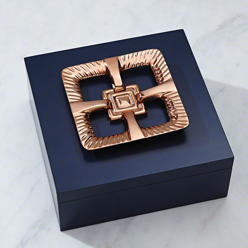 Global Views 8.82064 Maze Box with Copper Handle Blue Home Decor Boxes
