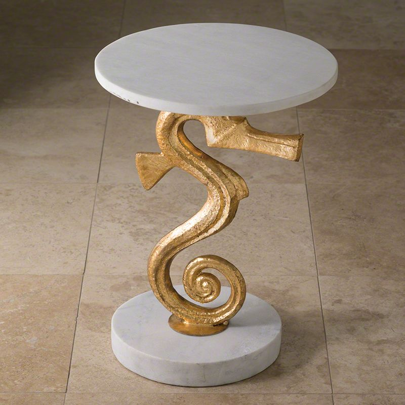 Global Views 8.82132 Seahorse Side Iron Table Gold Furniture End