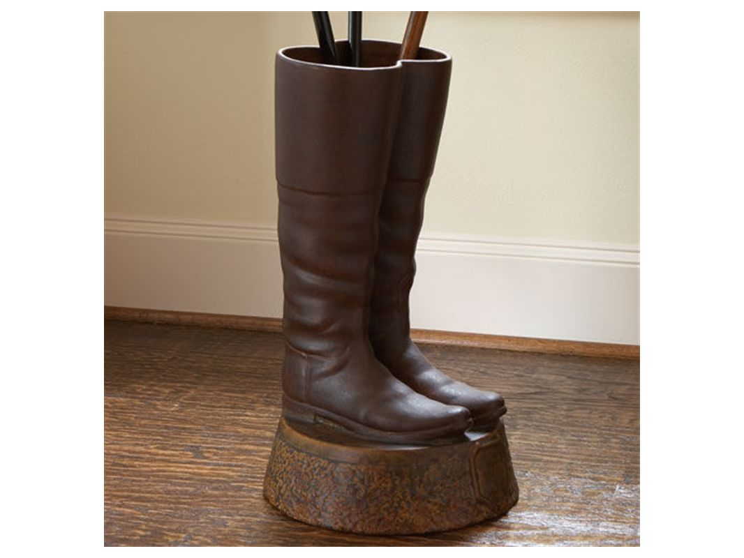 Global Views 8758 Ceramic Boots Umbrella Stand Brown Home Decor