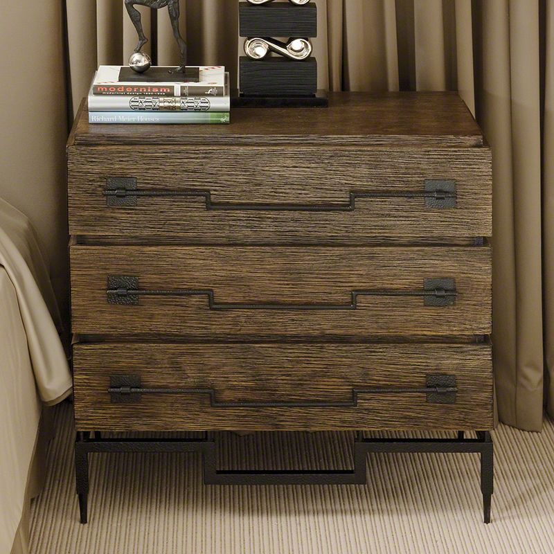 Global Views 9.91024 3 Drawer Wide Chest with Wrought Iron Drawer