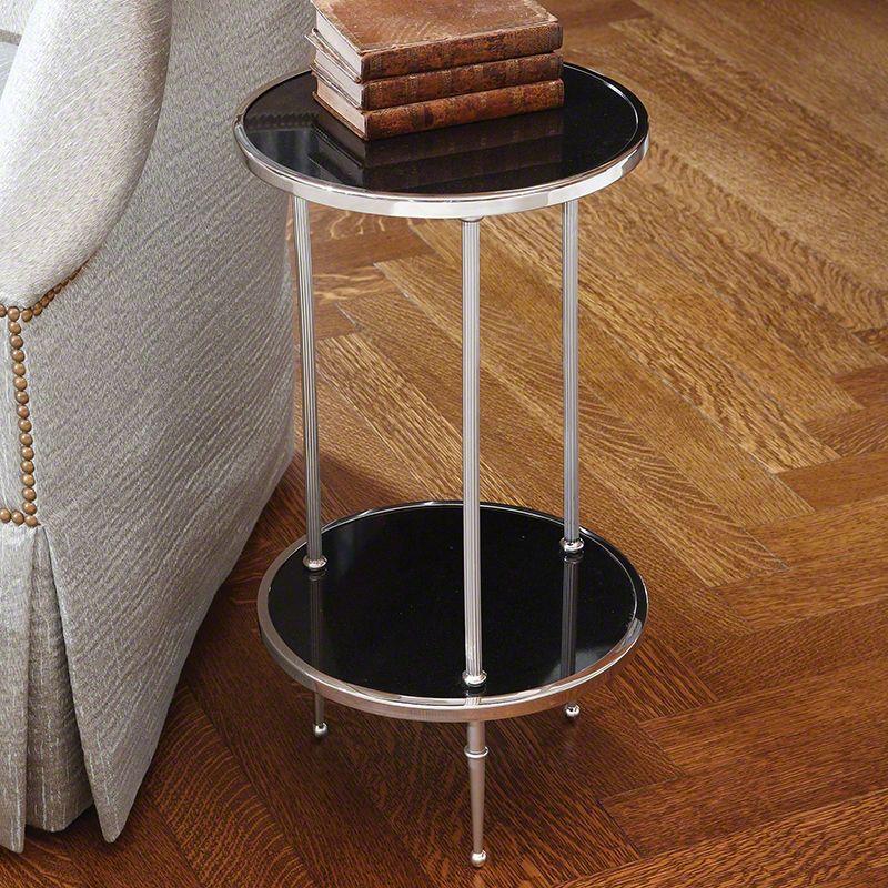 """Global Views 9.91247 Petite 2 Tiered 12.25"""" Table Nickel Furniture End"""