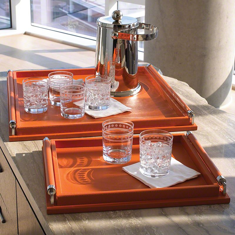 Global Views Wrapped Handle Leather Coral Tray - Available in 2 Sizes