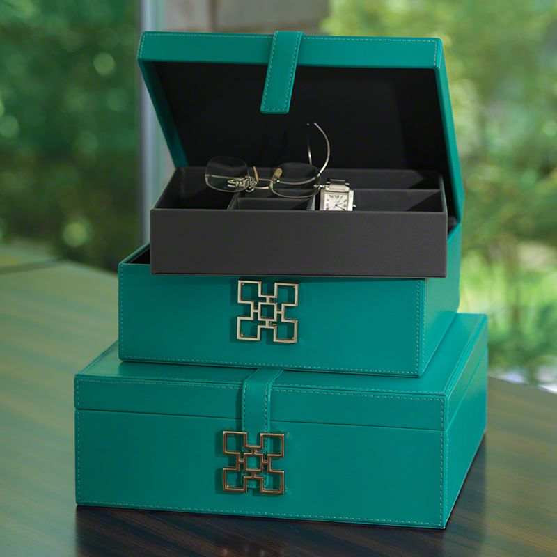 Global Views Aarhus Turquoise Box - Available in 2 Sizes Small Box