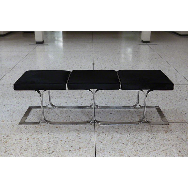 Global Views Airline Bench Polished Stainless Steel and Cowhide Bench