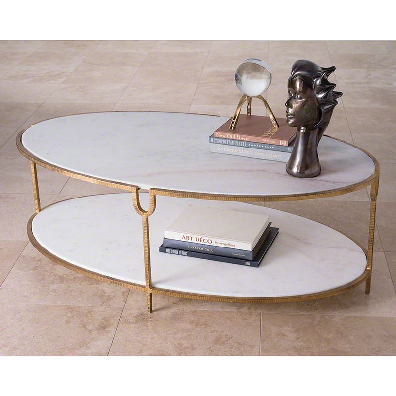 Global Views 9.91786 Iron and Stone Oval Coffee Table Gold Furniture