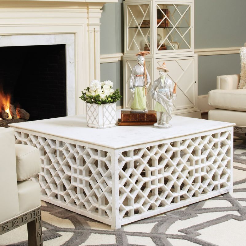 Global Views 9.91789 Marble Fret Cocktail Table White Furniture Coffee