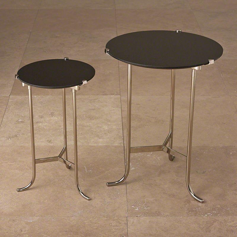 Global Views Polished Nickel Plie End Table With Black Granite Top