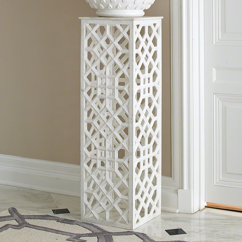 Global Views 9.91948 Marble Fret Pedestal White Marble Furniture