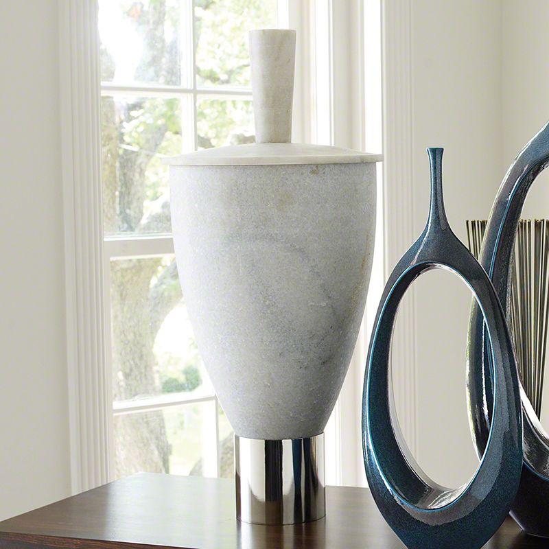 Global Views 9.92004 Grande Marble Jar with Lid Polished Nickel Home