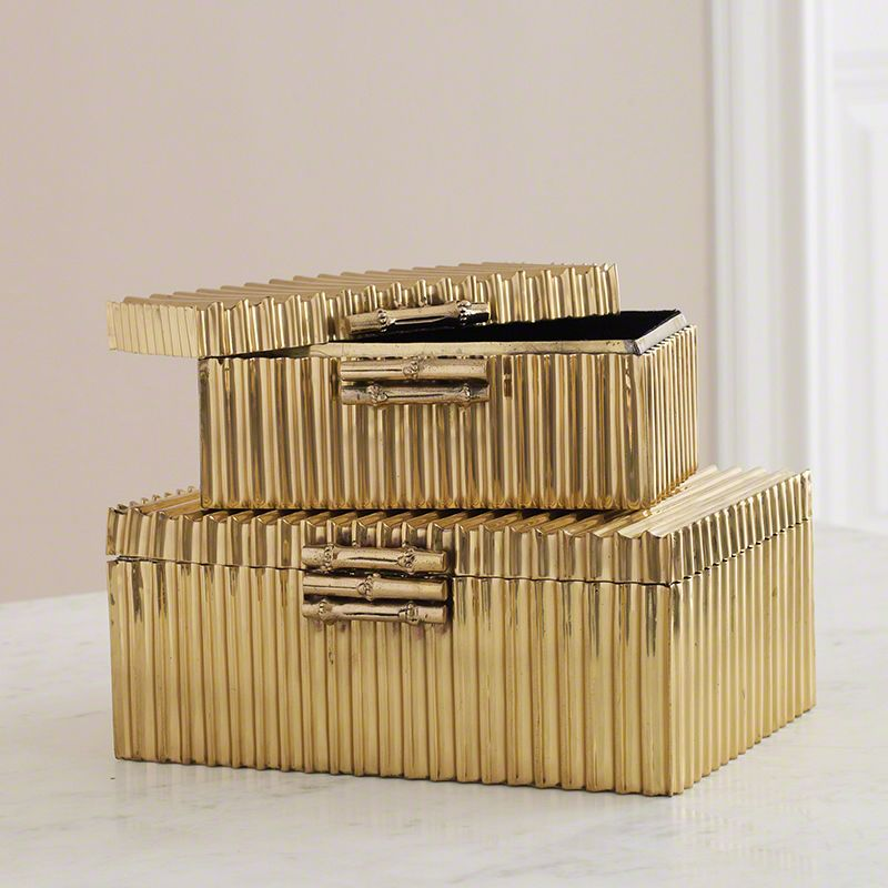 Global Views Corrugated Bamboo Brass Box Handmade from Solid Brass