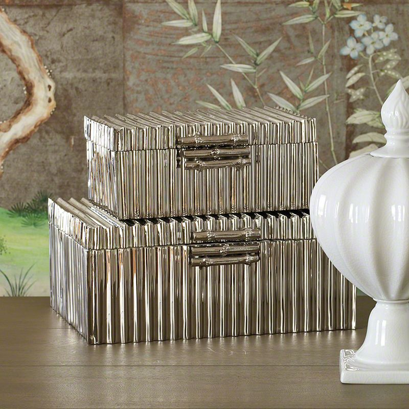 Global Views Corrugated Bamboo Nickel Box - Available in 2 Sizes Small