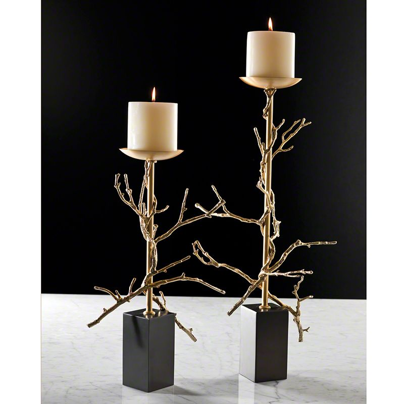 Global Views Twig Brass Candle Holder - Available in 2 Sizes Large