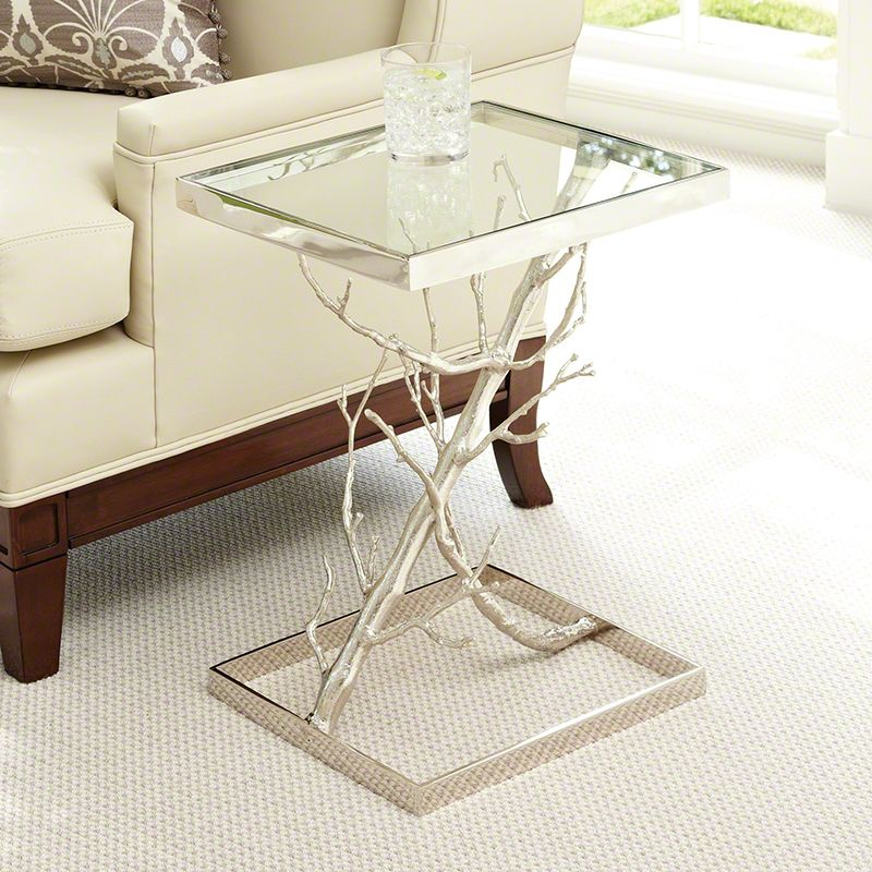 Global Views 9.92089 Z Tree End Table Made From Nickel Finished Casted