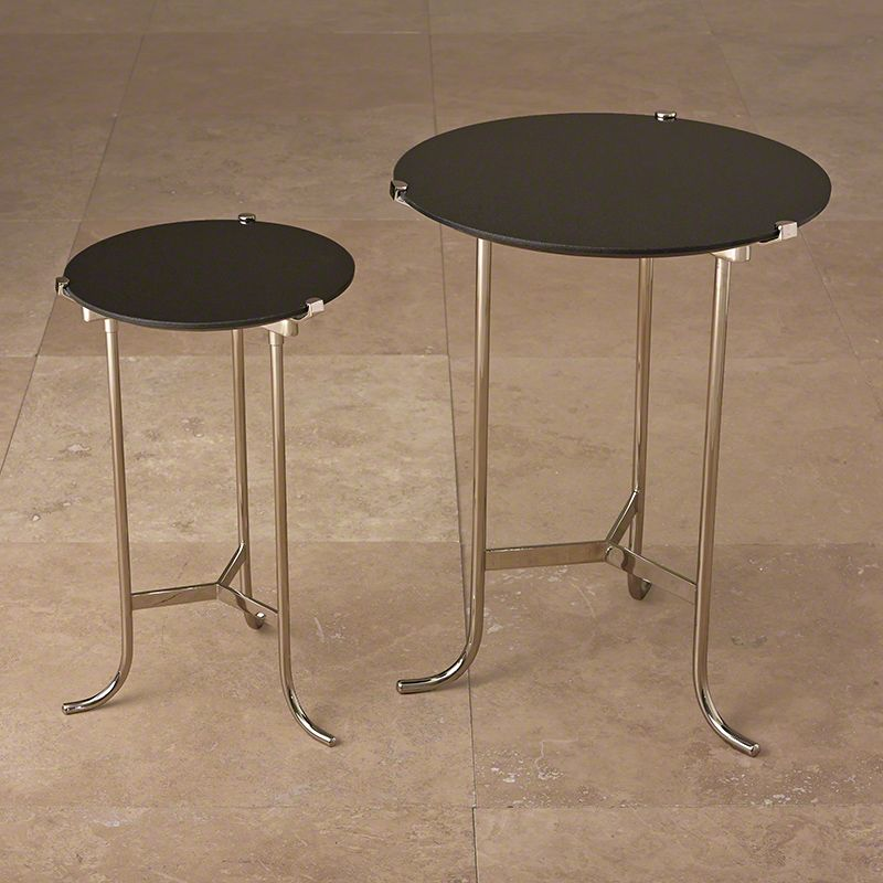 Global Views Polished Nickel Plie End Table With Black Granite Top