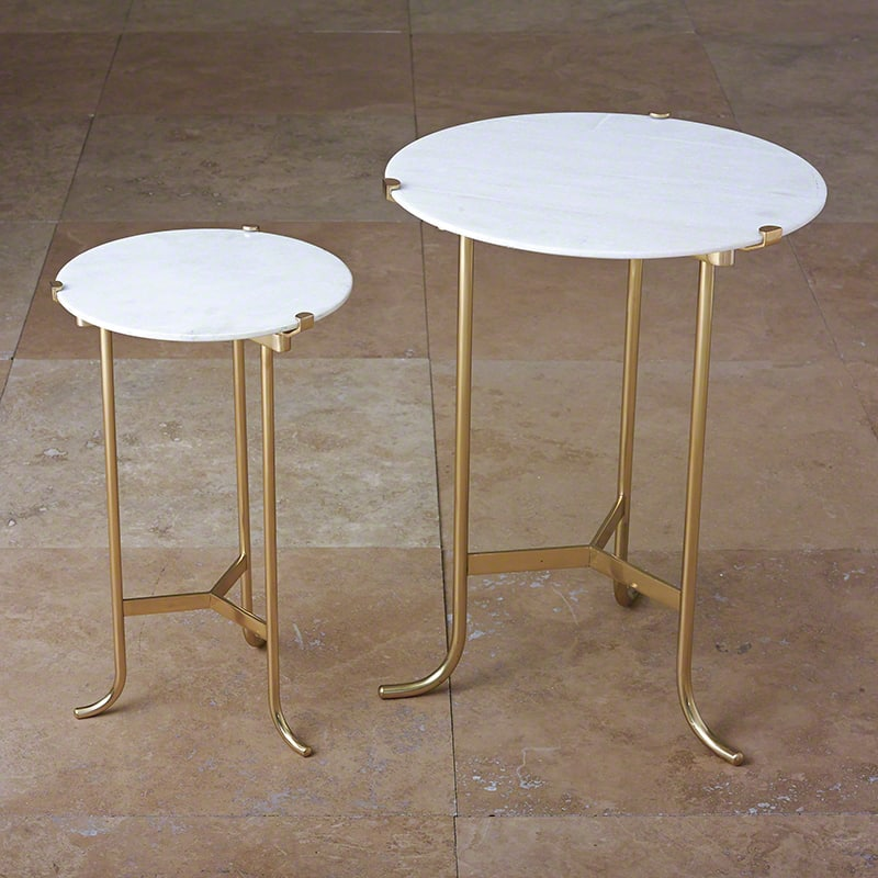 Global Views Brass Plie End Table Polished Brass End Table with Honed