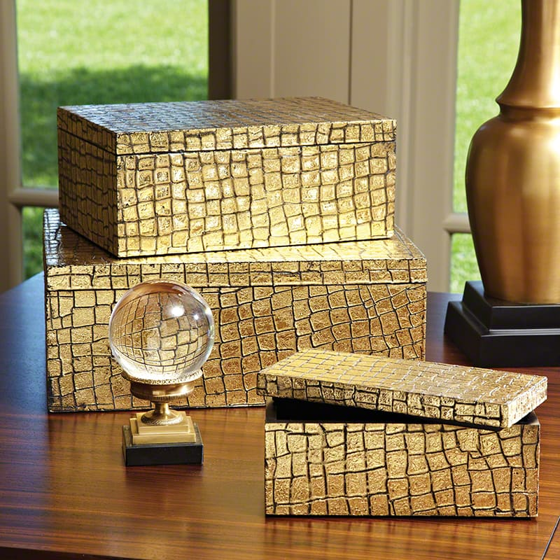 Global Views Gold Mock Crock Box - Available in 3 Sizes Medium Box