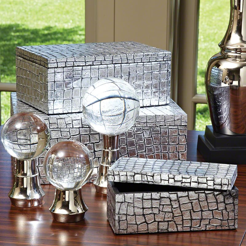 Global Views Silver Mock Crock Box - Available in 3 Sizes Medium Box
