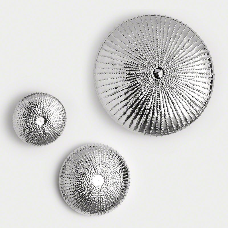 Global Views Sea Urchin Silver Wall Sculpture - Available in 3 Sizes