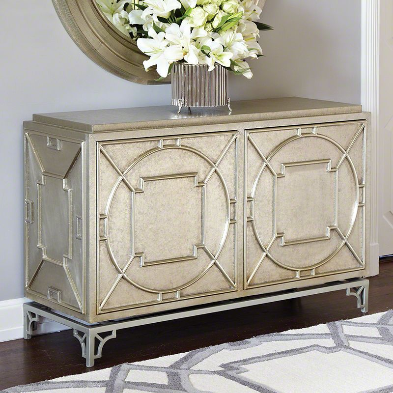 Global Views 9.92191 Arabesque Chest with 2 Doors White Alloy