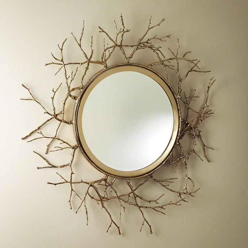 "Global Views Twig 44 Inch Round Mirror Twig 44"" Round Mirror Brass Sale $3746.50 ITEM#: 2713369 MODEL# :9.92243 UPC#: 651083922439 :"