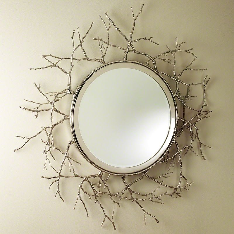 "Global Views Twig 44 Inch Round Mirror Twig 44"" Round Mirror Nickel"