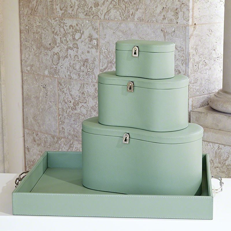Global Views Midtown Leather Celadon Box - Available in 3 Sizes Large