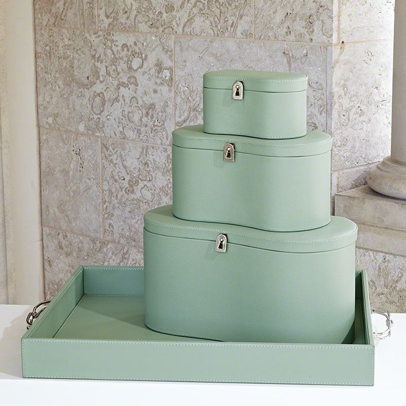Global Views Midtown Leather Celadon Box - Available in 3 Sizes Medium
