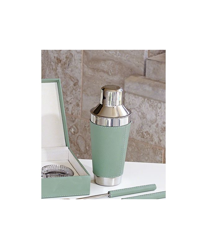 Global Views 9.92329 Cocktail Shaker with Leather Wrapped Celadon