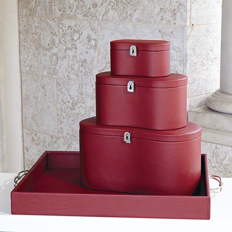 Global Views Midtown Leather Oxblood Box - Available in 3 Sizes Medium