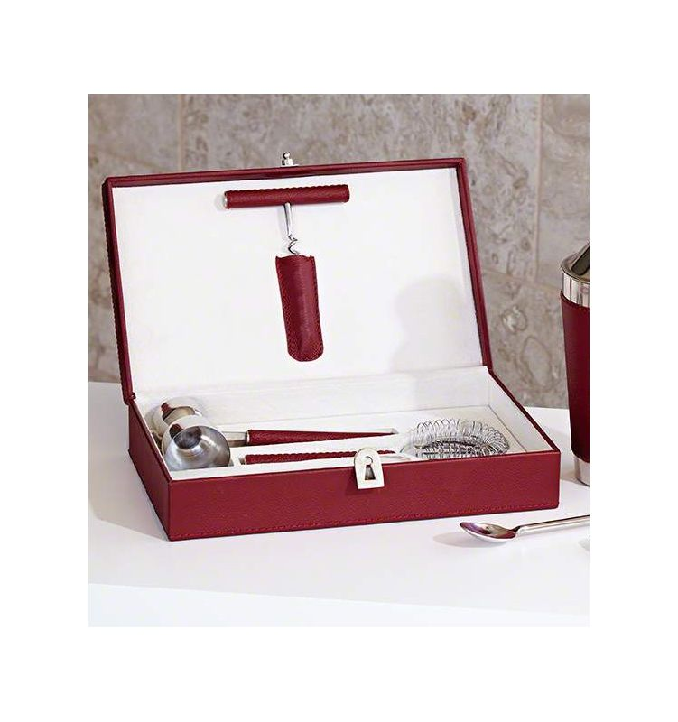 Global Views 9.92334 Boxed Bar Tool Set with Leather Oxblood Oxblood