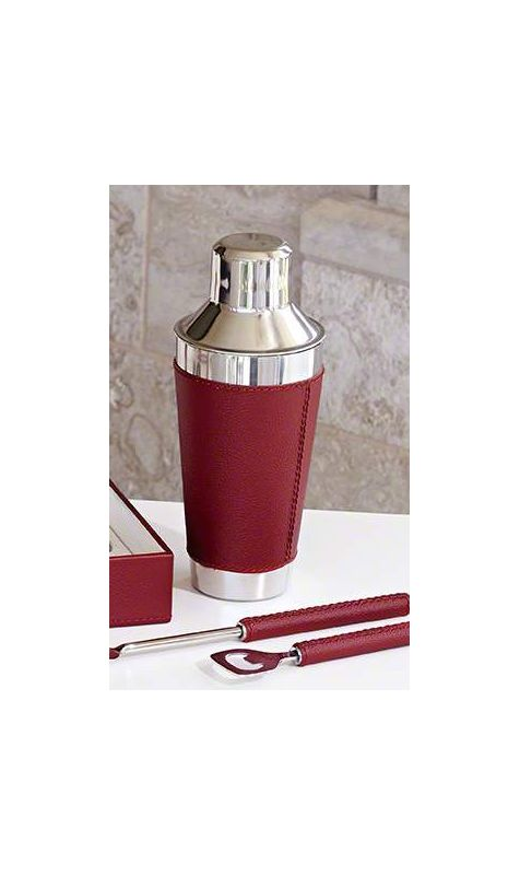 Global Views 9.92335 Cocktail Shaker with Leather Wrapped Oxblood