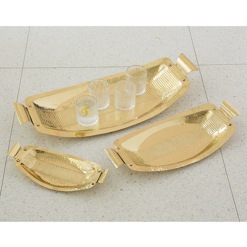 Global Views Gold Crimp Tray Made from Brass Medium Tray Home Decor