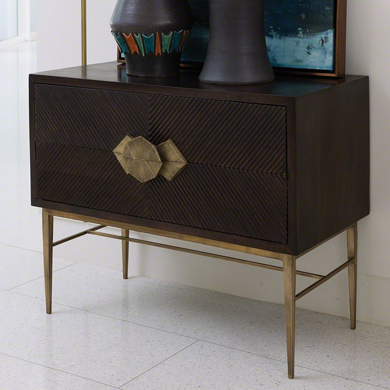 Global Views 9.92359 Galapagos Two Drawer Chest Dark Wood Furniture