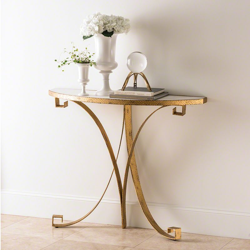 Global Views Greek Key Demilune Console with Iron Base and Marble Top Sale $822.50 ITEM#: 2713406 MODEL# :9.92365 UPC#: 651083923658 :