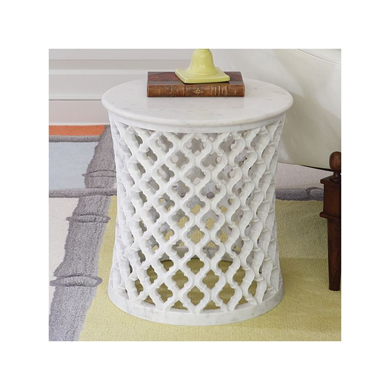 Global Views 9.91790 Marble Arabesque Side Table White Marble