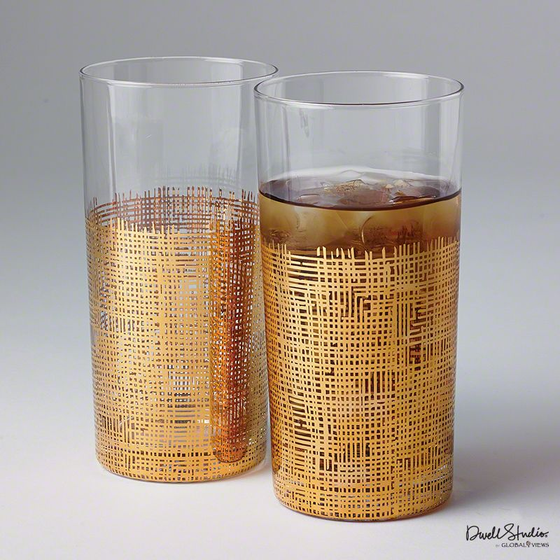 Global Views D6.60033 Crosshatch Tall Drinking Glass Gold Home Decor