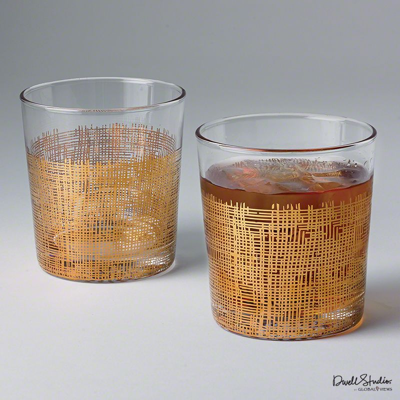 Global Views D6.60034 Crosshatch Short Drinking Glass Gold Home Decor