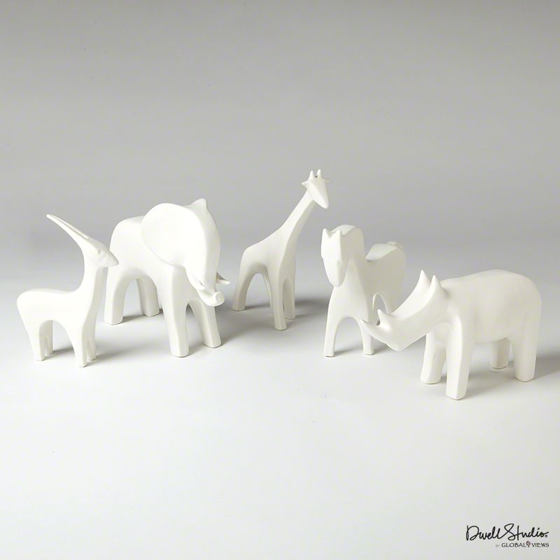 Global Views Ceramic White Animals - Each Piece Sold Separately Horse