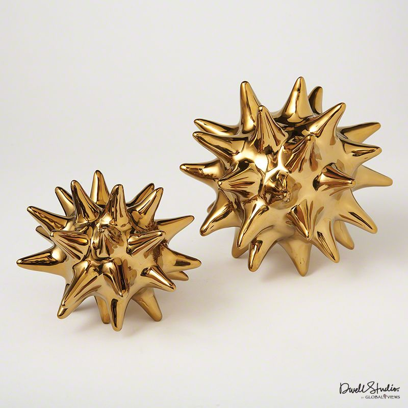 Global Views Bright Gold Urchin Statue - Available in 2 Sizes 7 Inch