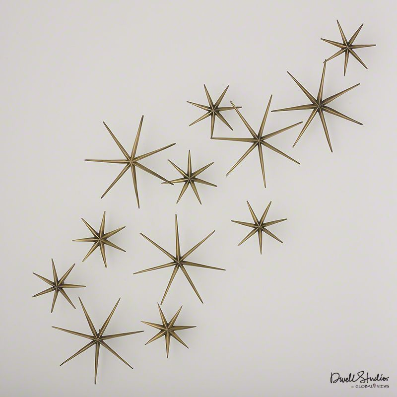 Global Views D9.90040 Set of 12 Toile Star Wall Decor Brass Home Decor