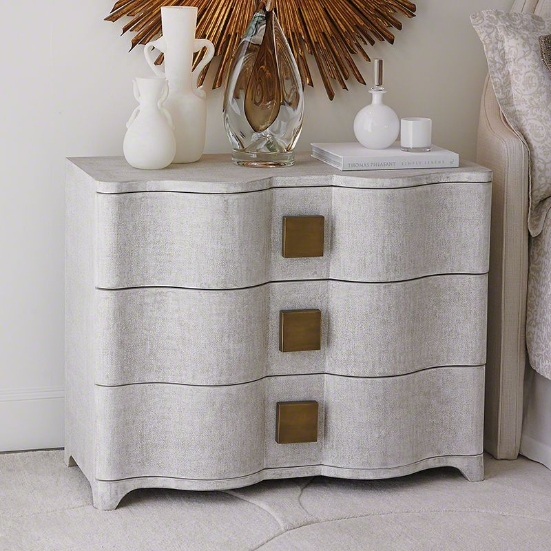 Global Views EB0231 Toile Linen Chest Belgian Linen Furniture Cabinets