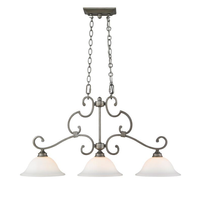 Golden Lighting 3711-10 Rockefeller 3 Light Linear Chandelier Peruvian