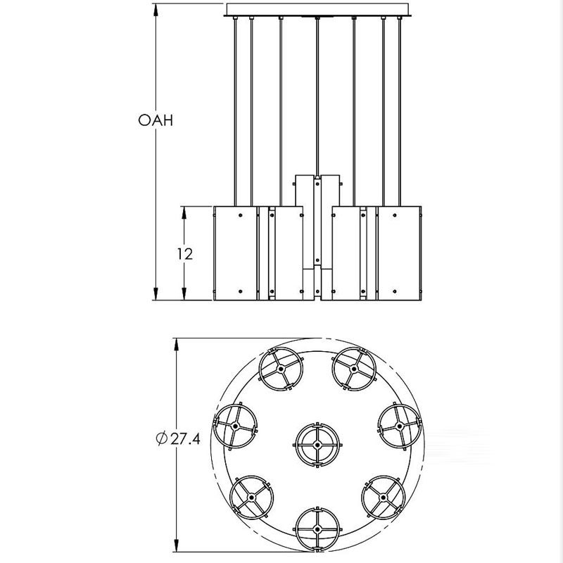 "Hammerton Studio CHB0013-08 Tempest 8 Light 27"" Wide Multi Light Sale $3995.00 ITEM#: 2960264 MODEL# :CHB0013-08-BS-XX-C01-XX :"