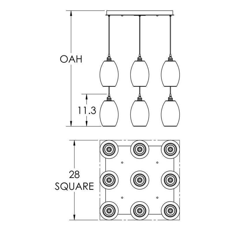 """Hammerton Studio CHB0035-09 Ellisse 9 Light 28"""" Wide Multi Light Sale $3995.00 ITEM#: 2960472 MODEL# :CHB0035-09-BS-XX-C01-E2 :"""
