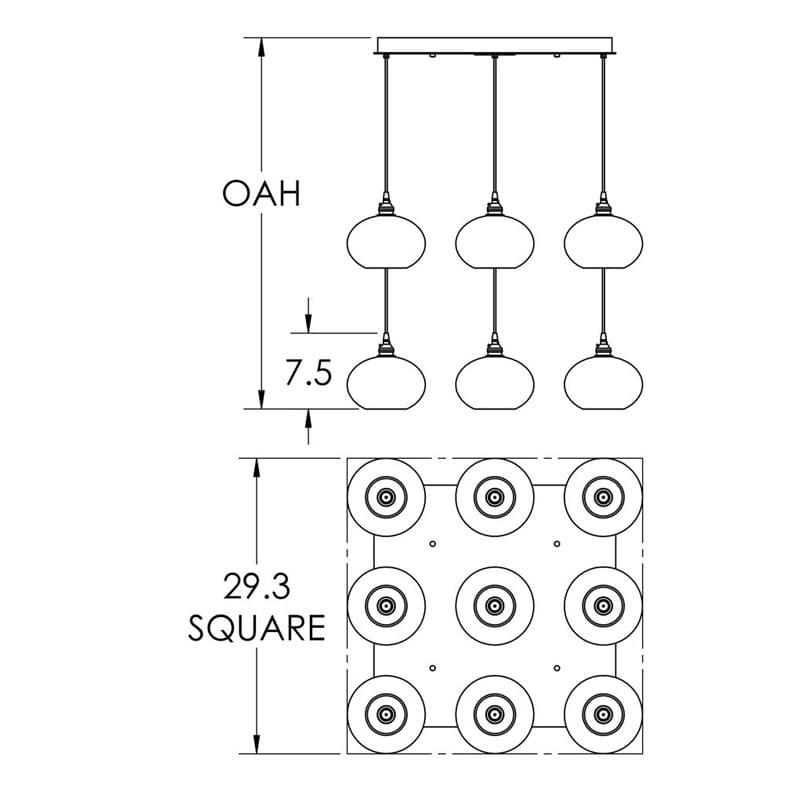 "Hammerton Studio CHB0036-09 Coppa 9 Light 29"" Wide Multi Light Pendant Sale $3995.00 ITEM#: 2960489 MODEL# :CHB0036-09-MB-XX-C01-E2 :"