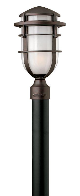 "Hinkley Lighting 1951-GU24 1 Light Post Light from the Reef Collection Sale $269.00 ITEM#: 2225749 MODEL# :1951VZ-GU24 UPC#: 640665095111 Features: Frosted glass shade to diffuse and soften light Made of aluminum Designed to cast a soft ambient light over a wide area Can be mounted facing upwards only Post not included Suitable for wet locations Fitter diameter = 3"" Lamping Technology: Bulb Base - GU24: The GU24 bulb base is used with self ballasted twist lock compact fluorescent bulbs and has a pin spread of 24 mm. Specifications: Bulb Included: No Dark Sky: No Height: 16.25"" Material: Aluminum Number of Bulbs: 1 Post Included: No Product Weight: 11 lbs UL Rating: Wet Location Voltage: 120v Wattage: 26 Watts Per Bulb: 26 Width: 9"" (measured from furthest point left to furthest point right on fixture) Compliance: UL Listed - Indicates whether a product meets standards and compliance guidelines set by Underwriters Laboratories. This listing determines what types of rooms or environments a product can be used in safely. About Hinkley Lighting: Since 1922, Hinkley Lighting has been driven by a passion to blend design and function in creating quality products that enhance your life. Hinkley is continually recommended by interior and exterior designers, and is available to you through premier lighting showrooms across the country. They pride themselves in delivering superior customer service that is second to none. They know that you have goals when it comes to your home's décor, and they care about helping you achieve the final outcome you are looking for in every aspect. Hinkley Lighting provides post and pier mount lights that illuminate your exterior style, the welcoming statement to your home. :"