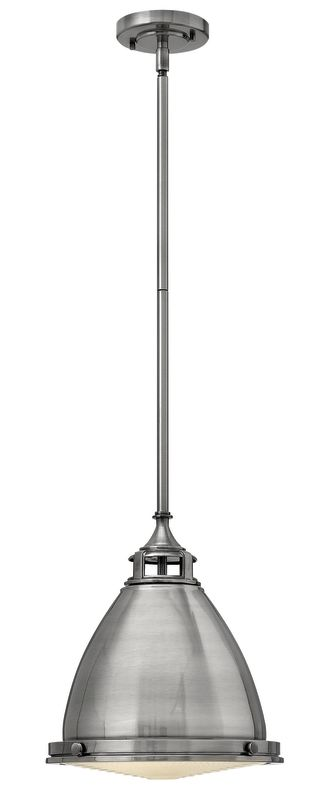 """Hinkley Lighting 3126-LED 1 Light LED Full Sized Pendant with Dome Sale $479.00 ITEM#: 2635665 MODEL# :3126PL-LED UPC#: 640665312690 Single Light LED Full Sized Pendant with Dome Shade from the Amelia Collection Features: Aged Zinc metal dome shade included with the Zinc Metal finish Buckeye Bronze metal dome shade included with the Buckeye Bronze finish Polished Antique Nickel metal dome shade included with the Polished Antique Nickel finish Polished Nickel metal dome shade included with the Polished Nickel finish Made of steel Designed to cast light in a downward direction Can be mounted facing upwards only Energy efficient Includes (1) 6"""" and (2) 12"""" downrods Suitable for dry locations Lamping Technology: LED - Light Emitting Diode: Highly efficient diodes produce little heat and have an extremely long lifespan. Specifications: Bulb Included: Yes Bulb Type: LED Canopy Diameter: 5.25"""" Downrod Size(s): 6"""", 12"""" Downrod(s) Included: Yes Height: 14"""" (measured from ceiling to bottom most point of fixture) LED: Yes Material: Steel Number of Bulbs: 1 Product Weight: 12 lbs Sloped Ceiling Compatible: Yes Title 24: No UL Rating: Dry Location Voltage: 120v Wattage: 15 Watts Per Bulb: 15 Width: 12.75"""" (measured from furthest point left to furthest point right on fixture) Compliance: UL Listed - Indicates whether a product meets standards and compliance guidelines set by Underwriters Laboratories. This listing determines what types of rooms or environments a product can be used in safely. About Hinkley Lighting: Since 1922, Hinkley Lighting has been driven by a passion to blend design and function in creating quality products that enhance your life. Hinkley is continually recommended by interior and exterior designers, and is available to you through premier lighting showrooms across the country. They pride themselves in delivering superior customer service that is second to none. They know that you have goals when it comes to your home's décor, and they care about helping yo"""