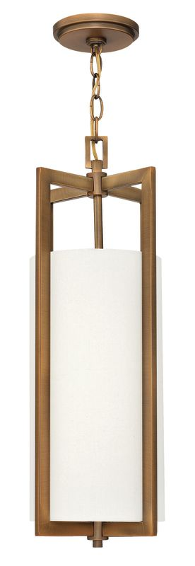 """Hinkley Lighting 3217-LED 1 Light LED Mini Pendant from the Hampton Sale $419.00 ITEM#: 2635780 MODEL# :3217BR-LED UPC#: 640665321753 Single Light LED Mini Pendant from the Hampton Collection Features: Off-White Linen Hardback fabric cylinder shade Made of metal Designed to cast light both upwards and downwards Includes 10' of chain and 12' of wire Can be mounted facing upwards only Energy efficient Suitable for dry locations Lamping Technology: LED - Light Emitting Diode: Highly efficient diodes produce little heat and have an extremely long lifespan. Specifications: Bulb Included: Yes Bulb Type: LED Canopy Diameter: 5"""" Chain Length: 120"""" Height: 22.5"""" (measured from ceiling to bottom most point of fixture) LED: Yes Material: Other Metals Number of Bulbs: 1 Product Weight: 7 lbs Shade Height: 14.5"""" Shade Width: 7.25"""" Sloped Ceiling Compatible: No Title 24: No UL Rating: Dry Location Voltage: 120v Wattage: 15 Watts Per Bulb: 15 Width: 9.25"""" (measured from furthest point left to furthest point right on fixture) Wire Length: 144"""" Compliance: UL Listed - Indicates whether a product meets standards and compliance guidelines set by Underwriters Laboratories. This listing determines what types of rooms or environments a product can be used in safely. About Hinkley Lighting: Since 1922, Hinkley Lighting has been driven by a passion to blend design and function in creating quality products that enhance your life. Hinkley is continually recommended by interior and exterior designers, and is available to you through premier lighting showrooms across the country. They pride themselves in delivering superior customer service that is second to none. They know that you have goals when it comes to your home's décor, and they care about helping you achieve the final outcome you are looking for in every aspect. :"""